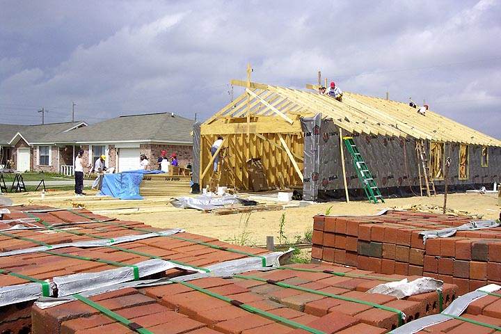 The construction site of a Habitat for Humanity house.