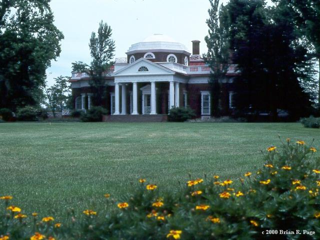 The west front of Thomas Jefferson's home, Montecello.
