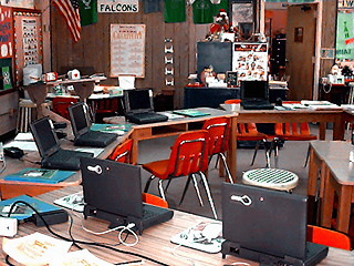 ocps002.jpg - Elementary school classroom with laptop computers set up.