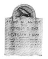 Poe's Grave Stone -stone to mark the original place of Poe's burial in 1849,