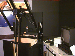 QuickTime Virtual Reality rig for shooting object movies. This rig is was made by Bob Konkow, Imagicom, Inc.