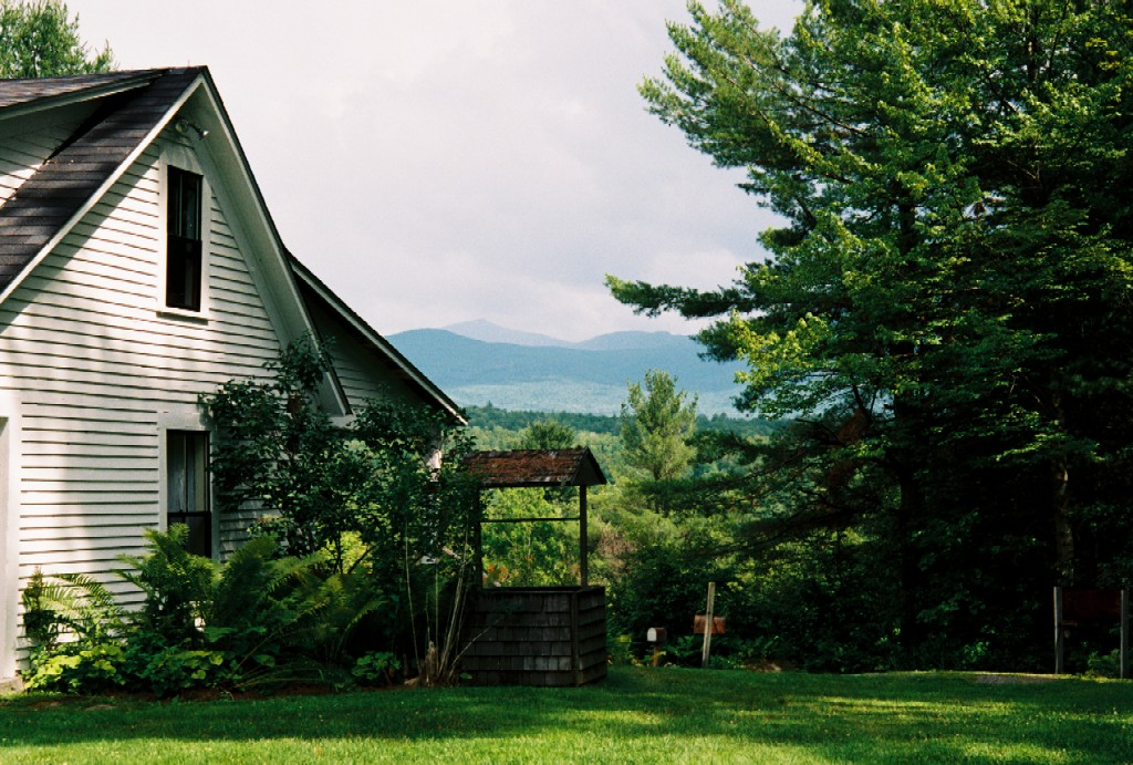 Farm house, views, and woods of the Robert Frost home near Derry, New Hampshire. This is the home where Frost became a serious poet and created many of the poems published in his first collection.