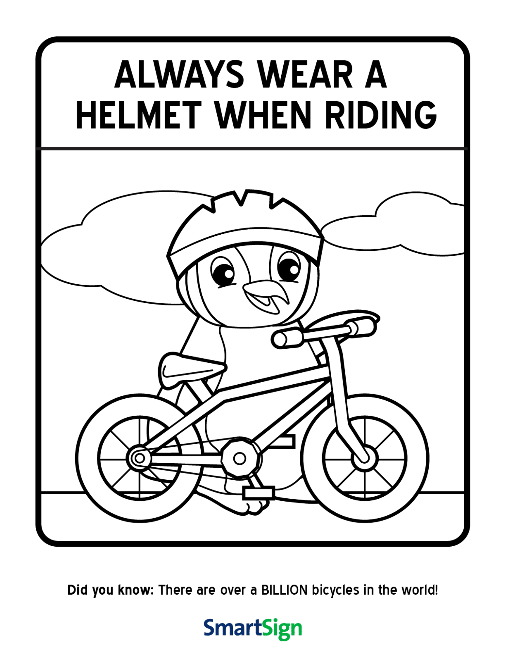Safety coloring printable for kids always wear your for Safety signs coloring pages