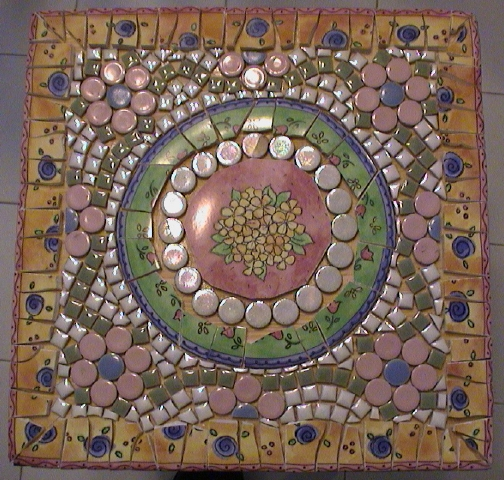 Small Mosaic Table Top View Using Dishes Tiny Tile And Round Tiles