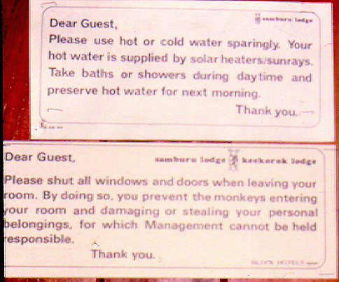 guest warning signs at an african lodge explaining how animals may