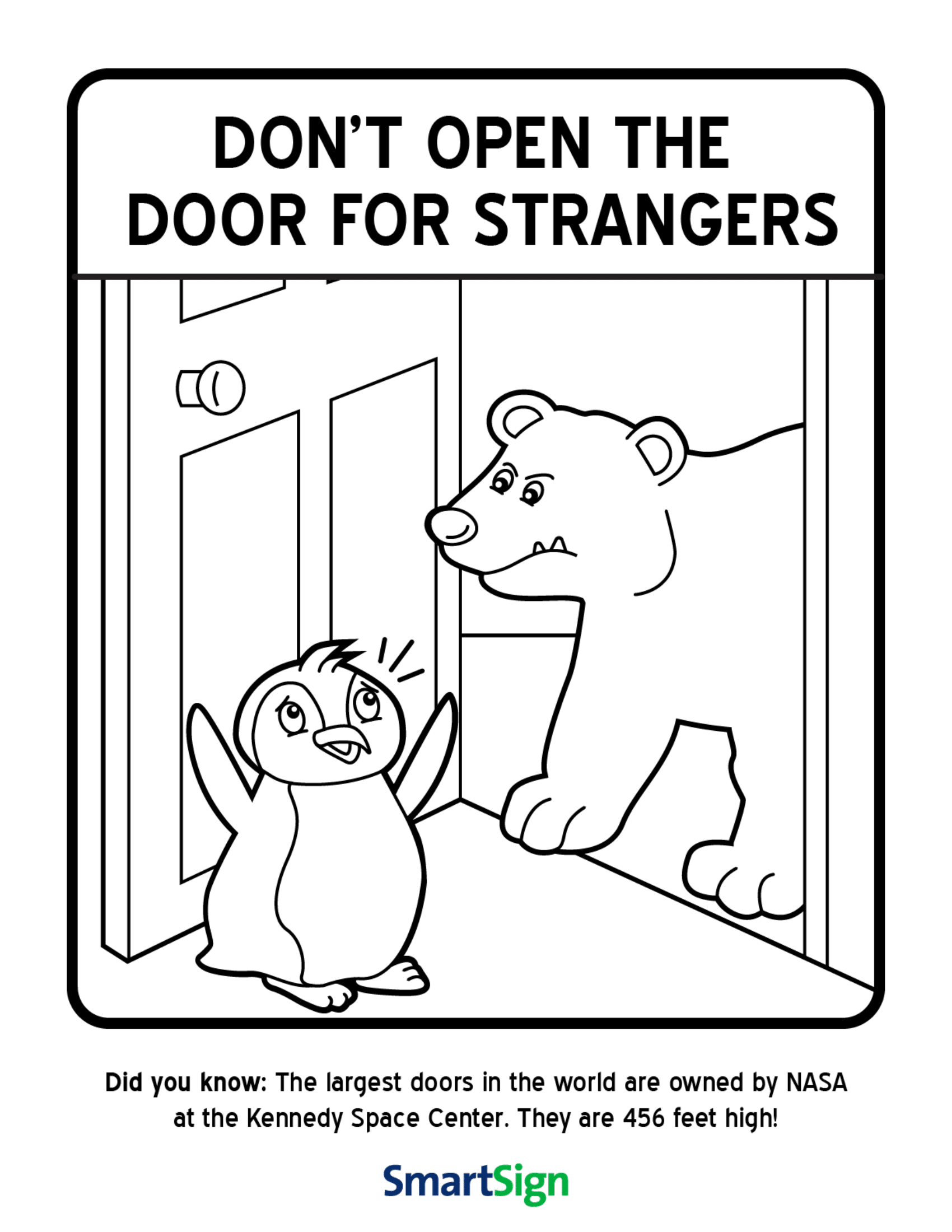 Safety Coloring Printable for Kids - don\u0027t open the door for strangers.  sc 1 st  Pics4Learning : printable door - pezcame.com