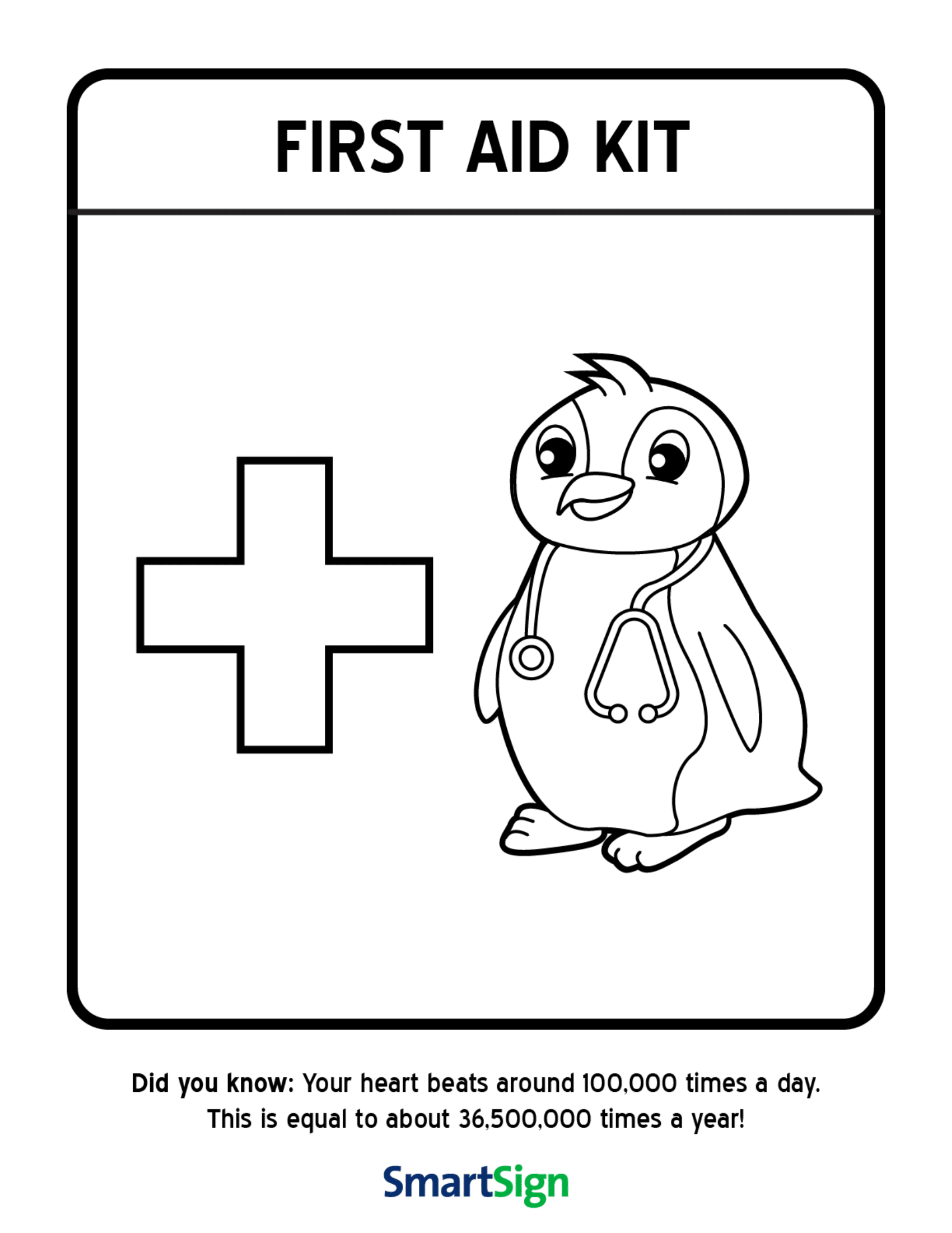 image relating to First Aid Printable known as Basic safety Coloring Printable for Little ones - Initial Help Package