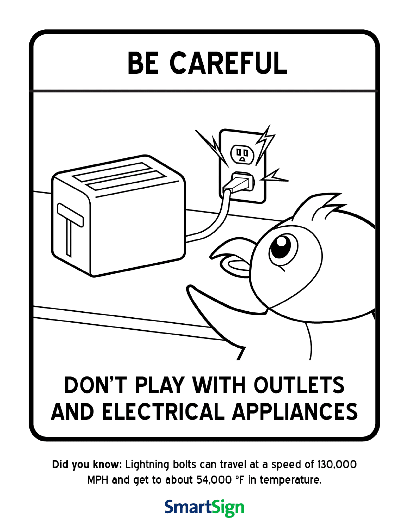 Safety Coloring Printable for Kids - Don\'t play with electrical ...