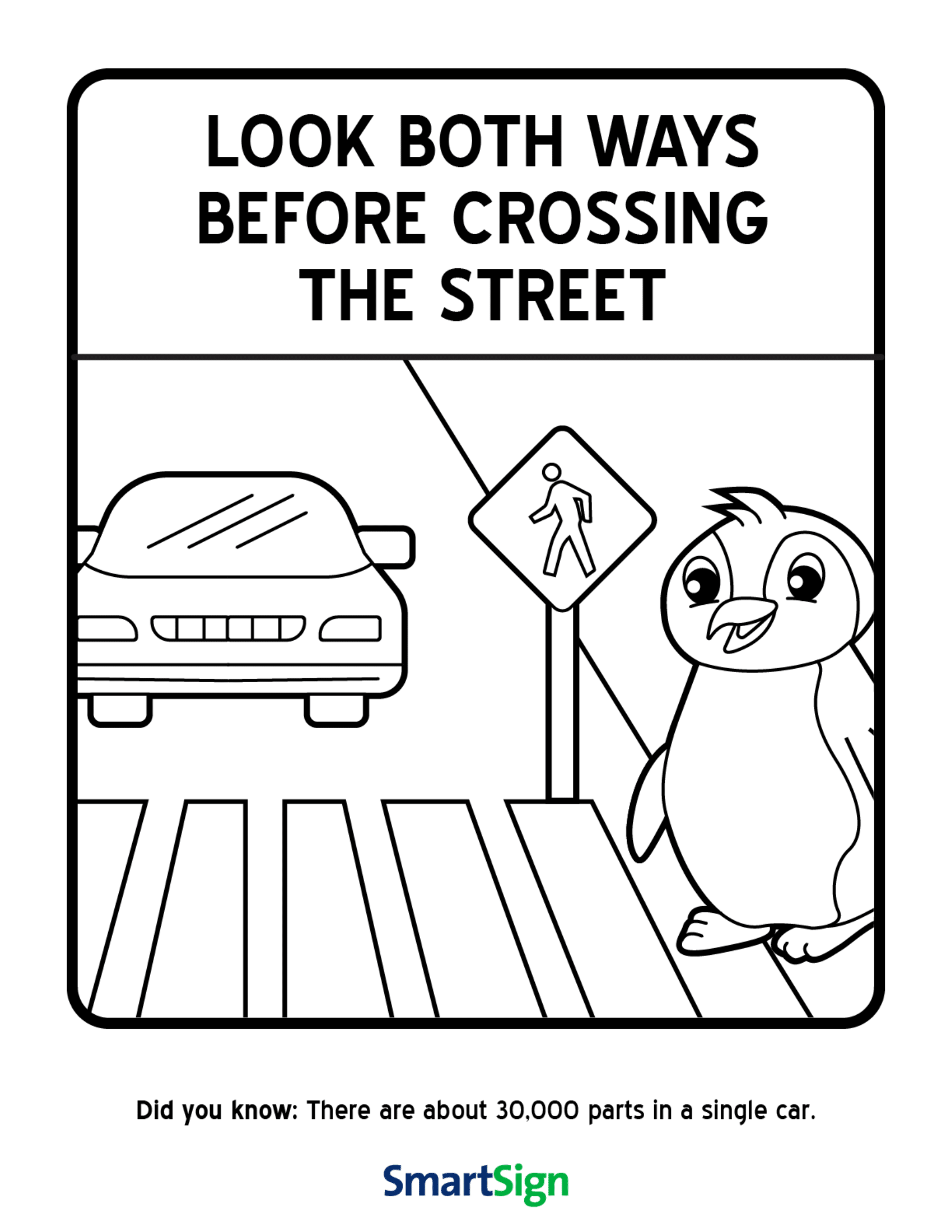 Safety Coloring Printable for Kids Look both ways before