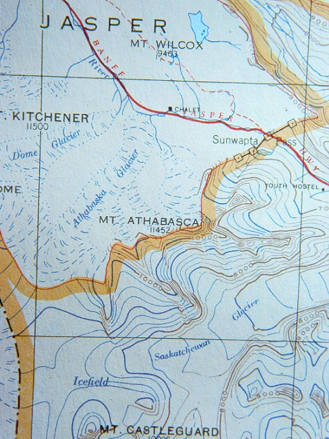 Topographic Map Of A Mountain.Detail Of A Topographic Map Show Contour Lines Mountains And